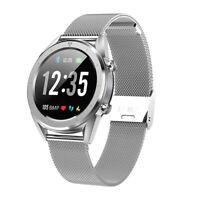 Smartwatch DT28 OLED Pulsuhr Blutdruck Fitness Tracker iOS IP68 Milanaise Silber