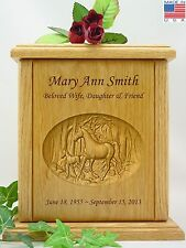 Human Cremation Urn - Carved Horse & Colt (G-100)