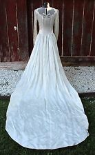 Vintage Deco Era Bridal Gown Wedding Dress Satin Ivory Long Train c1930s Glamour