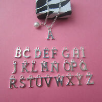 """New in Gift Box Silver Plated Initial Letter Pendant & Glass Pearl 18"""" Necklace"""