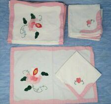 Napkin Placemat Set Vintage Hand Embroidered Applique Pink Floral 50s 60s kitsch