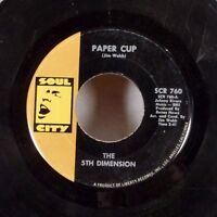 "The 5th Dimension Paper Cup / Poor Side of Town 45 7"" Soul City R&B psych VG"