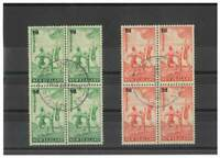 New Zealand 1939 Healths Set/2 in Blocks/4 Stamps W/ First Day Cancels FU 15-12
