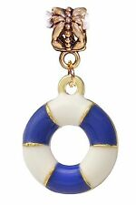Blue White Life Ring Boat Beach Sea Gold Dangle Bead for European Charm Bracelet