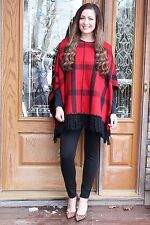 Ralph Lauren Womens Wool Black Plaids Fringed Cape Poncho Coat Jacket L/XL