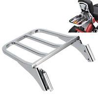Chrome Sissy Bar Backrest Luggage Rack For Harley Heritage Softail Dyna Fatboy