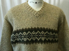 Abercrombie & Fitch 100% Wool Pullover Ski Sweater Size Large Heavy V Neck EUC