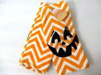 Pumpkin Jack O Lantern Kitchen Towels Set of 2 Black Orange White Cotton