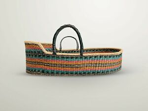 Handwoven Baby Moses Basket Ethically sourced fair trade plus mattressstripe