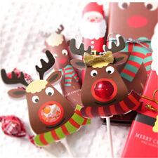 25pcs Christmas Reindeer Lollipop Sticks Paper Candy Paper Decor Cute Decoration