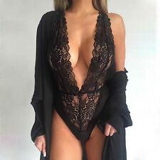 Sexy Black Lingerie Women Underwear Babydoll Lace Bodysuit Sleepwear Nightwear