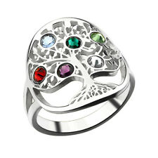 Tree of Life Ring Sliver Birthstone Ring Personalised Family Tree Mother's Ring