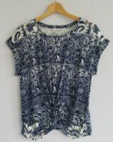Lucky Brand Women's Small Short Sleeve Blue White Twist Boho Knit Top Shirt