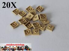 20X Lego® 87580 Fliese Platte 2X2 mit Noppen Beige / Tan / Sandfarben, NEU