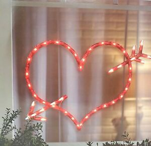 Lighted Valentine's Day Heart and Arrow Window Silhouette Decoration - 1 Piece