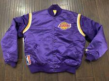 VTG🔥 Starter USA NBA Los Angeles Lakers Snap Button Purple Satin Jacket Sz XL