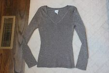 Chicos Silver Gray Glitter Sweater Size 1 Long Sleeve Sz 8 V Neck