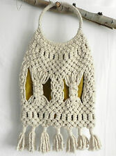 Hand Made Tote / Shopper Bag Woven Macrame XL Cotton Blend Ivory Tone
