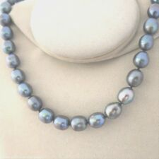 Kette 50cm echte Perlen 9mm in Tahiti-Schwarz Peacock, Magnetvers. Top Geschenk