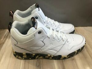 New With Tags Mens Reebok Royal HI2 Leather Hi Tops White Camo DV8831 Size 11.5