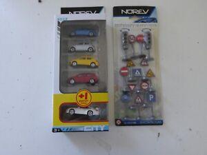 Lot de 5 Voitures Miniatures Seat Ford + 14 Panneaux Norev 1/64 Jouets Jeux Z7