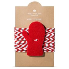 New !  10PK Sugar Paper Felt Mitten Tie On Gift Topper Red and White color