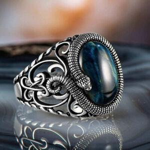 Solid 925 Sterling Silver Snake Figure Blue Tiger's Eye Stone Men's Ring