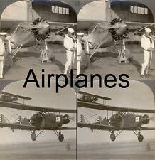 18 Stereofotos von alten Flugzeugen Airplane Airkraft um 1920 - Serie 2