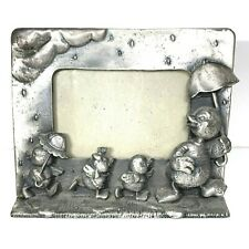 Pewter Nursery Picture Frame Mama Duck & Baby Ducklings in the Rain Showers