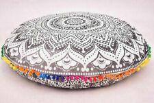 "Indian Round Floor Cover 32"" Mandala Pillow Cushion Bohemian Throw Large Pillow"