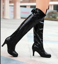 New Women Kitten Heels Patent Leather Knee High Boots Nightclub Party Shoes