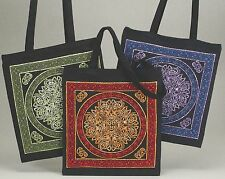 Handmade Celtic Wheel of Life 100% Cotton Tote Bag Shopping Work Bag 16x19 Red