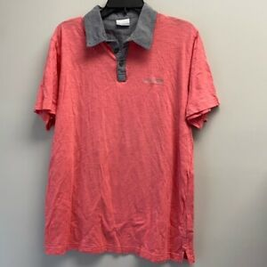 Columbia men's large polo shirt coral pink w gray collar short sleeve cotton