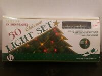 Vintage Everglow Extend-A-Lights Christmas 50 Light Set. Yellow W/ Green Wire