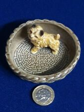Vintage Wade Pottery England: Cairn Terrier in basket, trinket tray. Immaculate.