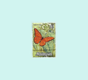 Malaysia 1970 1$ Dollar Butterfly Used postal stamp
