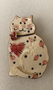 Sweet Ceramic Painted Cat Brooch