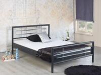Bettgestell Doppelbett Metallbett Bettrahmen HOLLY 180x200 schwarz/chrom NEU