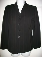 Ann Taylor Petites Women Dark Brown Pinstriped Wool Blazer Jacket Size 4 P