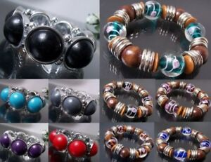 Statement Bracelet Stretchy Pearl Beads Silver Fashion Jewellery VZ4