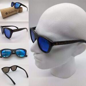 Men's Handcrafted Bamboo Frame Blue Mirror TAC Polarized Sunglasses Full UV
