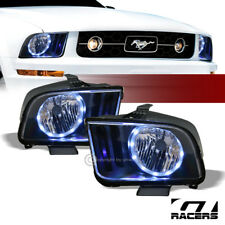 For 2005 2009 Ford Mustang Black Housing Drl Led Halo Ring Headlights Lamps Nb Fits Mustang