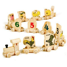 Number Animal Chinese Zodiac Cognitive Educational Toy Wooden Train for Baby Kid