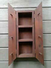 Vintage handcrafted shelf key cabinet holder wall hanger wooden folk Art Decor