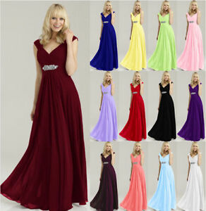 New Long Formal Evening Prom Ball Gown Party Bridesmaid Dresses Custom Size 6-26