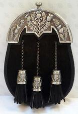 Scottish Kilt Black Bovine Fur Full Dress Sporran Antique Chrome Thistle Cantel