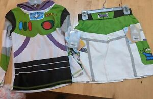 NWT DISNEY BUZZ LIGHT YEAR SWIM TRUNKS and RASH GUARD SPF TOP (WHITE/GREEN) 5/6