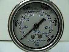 "301LFW-254W 2.5"" Glycerin Filled SS 316 Internals Gauge 1/4"" NPT LM 0/20k psi"