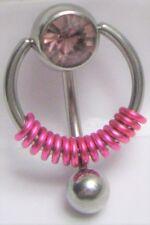 Vch Clitoral Clit Hood Ring 14g Light Purple Pressure Gem Ball Fuchsia Coiled