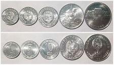 Korea 5 coins set 1959-1987 1 5 10 50 chon 1 won Alum coins  Without Stars